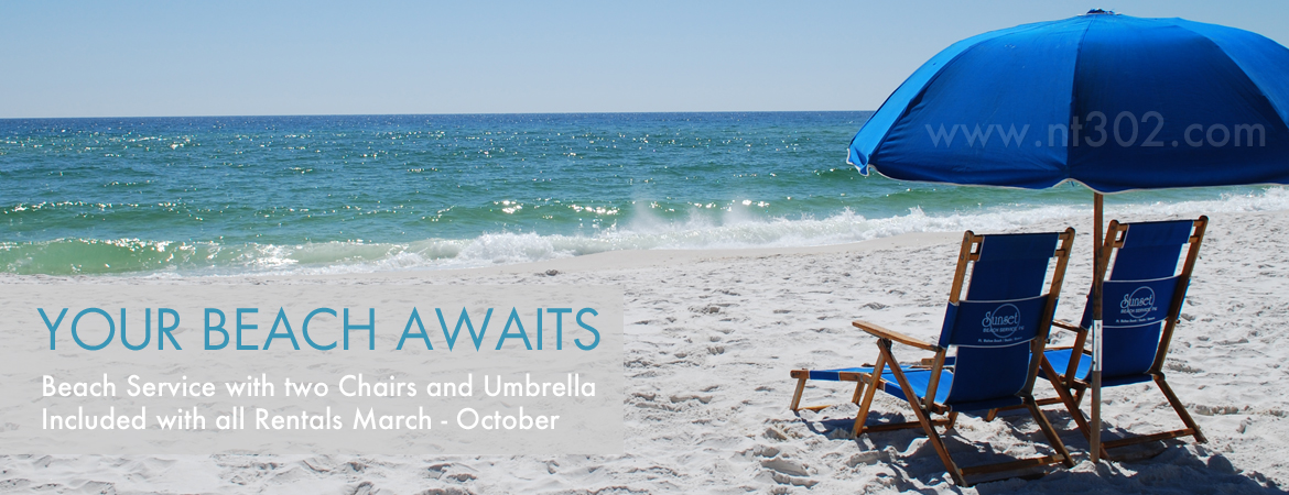 Navarre Towers 302 Beach Chairs and Umbrella Service Included - www.nt302.com